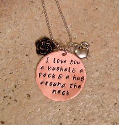 I Love You A Bushel & A Peck / Hand Stamped Necklace by BrandedBlessings on Etsy