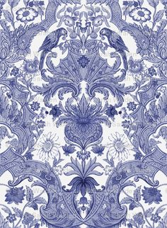 Parrot Damask ~ Blue and White denotes decoration in underglaze blue on the white body of both pottery and porcelain.