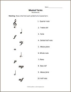 This worksheet is intended for beginner/early elementary students who have learned basic note values and musical terms. The student is instructed to match the musical symbol pictured on the left t… Music Theory For Beginners, Basic Music Theory, Music Theory Lessons, Music Theory Worksheets, Free Worksheets, Singing Lessons, Beginner Piano Lessons, Violin Lessons, Music Terms