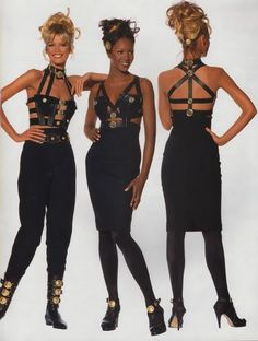#fashion #90s #versace #gianni #supermodels #models #bondage #black #gold