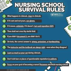 Rules for Surviving Nursing School!   Here are 10 tips to maximize every nursing student's first clinical exposure.  10 Nursing School Clinical Exposure Tips for Student Nurses  http://nurseslabs.com/10-nursing-school-clinical-exposure-tips-student-nurses/  #nursing #studentnurse #nurse
