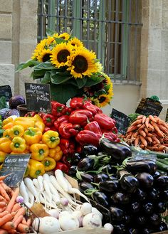 Aix en Provence, France - sunflowers and vegetables at the market