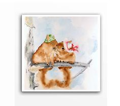 """""""First Kiss"""" - 2 little squirrels climbed up a tree, K-I-S-S-I-N-G! Two very cute squirrels in love and taking care of each other. Archival print 10x10 by LaBerge, $25.00"""