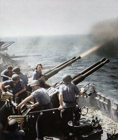 Quad 40 mm Bofors on the USS Hornet (CV-12), 16 February 1945.