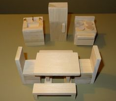 Wooden Dollhouse Furniture Hand Crafted 2012. $29.99, via Etsy.