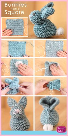 How to Knit a Bunny from a Square with Studio Knit. Knitted Softies for Springtime and Easter! How to Knit an Easter Bunny from a Square with free Knitting Pattern and Video Tutorial by Studio Knit. Baby Knitting Patterns, Crochet Patterns, Afghan Patterns, Crochet Rabbit Free Pattern, Sewing Stitches, Loom Patterns, Amigurumi Patterns, Sewing Patterns, Easy Knitting