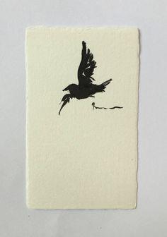 ink art painting, Japanese ink art, Bird art, animal art, Bird painting, mini art, mini painting, gift card art, Love bird,  house worming by ArtGalleryReina on Etsy