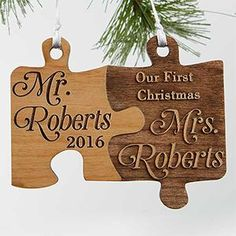 LOVE this Mr. and Mrs.  Personalized Christmas Ornament! I can't get enough of the wood puzzle ornaments and this is so perfect for couples who just got married! LOVE this engraved wedding ornament!