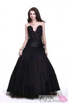 Wonderful Ball Gown Strapless Floor-length Tulle Beading Prom Dress