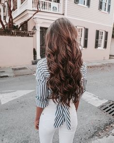 Women white and blue striped button blouse patchwork turn-down collar shirts high street back hollow out bow tie tops - Lange Haare Ideen Diy Hairstyles, Pretty Hairstyles, Evening Hairstyles, Teenage Hairstyles, Fashion Hairstyles, Elegant Hairstyles, Latest Hairstyles, Hair Inspo, Hair Inspiration