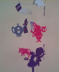 Purple and Pink Alice in Wonderland mobile on Etsy, $18.50