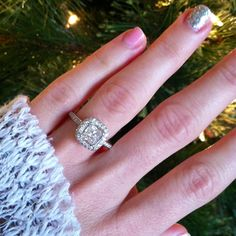 My engagement ring :) 1ct princess with halo :)