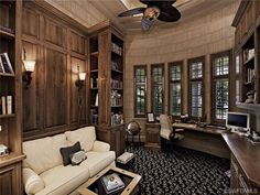 Traditional wood home office - built in shelves - texture. Coquina Sands in Naples,FL Future Office, Naples Florida, Built In Shelves, House In The Woods, Estate Homes, Sands, Decor Interior Design, Future House, Offices