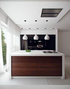 küche design kücheninsel weiß pendelleuchten idee | hausbau, Hause ideen