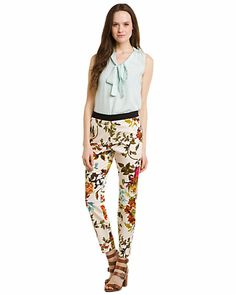 "Some of you have to get in on this: Ted Baker ""Ilanna"" Straw Floral Print Pant"
