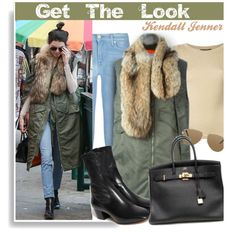 Get The Look: Kendall Jenner by hamaly on Polyvore featuring polyvore, fashion, style, Dolce&Gabbana, 7 For All Mankind, 3.1 Phillip Lim, Sandro, Hermès, Yves Saint Laurent and women's clothing