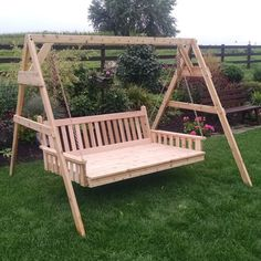 A & L Furniture Western Red Cedar A-Frame Swing Stand for Swing or Swing Bed A Frame Swing, Wood Swing, Diy Swing, Red Cedar Wood, Western Red Cedar, Pergola Swing, Pergola Plans, Wood Projects, Woodworking Projects