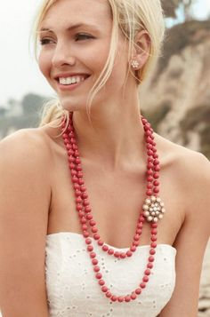 This was a favorite today at my trunk show--everyone loved the coral color with the vintage inspired brooch. pair with white, denim, chambray shirt, coral, or colbat blue this season. www.stelladot.com/astork