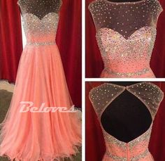 """Fabric:Chiffon Neckline:+Illusion+Neckline Color:Pearl+Pink+ Silhouettes:+A+Line++ Back+Detail:Keyhole+Back Occasion:+Prom+,Evening,Cocktail++++++ Custom+Made+:+We+also+accept+custom+made+size+and+color+.+Please+click+the+""""contact+us+""""and+send+your+size+and+color+to+our+email+.+Or+just+leav..."""