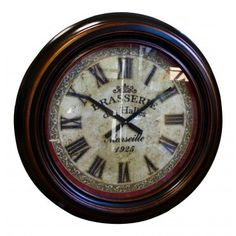 """Large Wall clock, dark brown wood, French vintage design """"Brasserie des Halles"""" - My French Neighbor"""