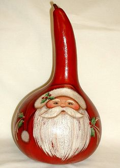 Primitive Gourd Santa  Hand Painted Gourd by FromGramsHouse,