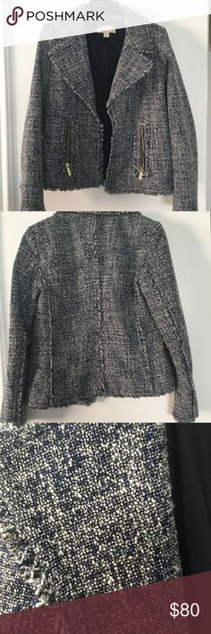 Michael Kors Frayed Trim Tweed Jacket Navy and white tweed, open front, gold colored zippers on 2 front pockets.  Great weight, perfect over a tee or tank. KORS Michael Kors Jackets & Coats Blazers