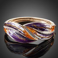 18K GP Elegant Purple Crystal Bangle Bracelet