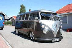 vw volkswagen bus van split window german look porsche wheels slammed lowered low safari pop outs