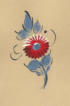 Small Red Flowers -1, Bauernmalerei, decorative Painting Online Classes