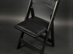 Folding Chair, Black with Black Padded Seat