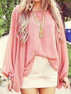 Pink top, white skirt and gold necklace. #outfit #style #fashion