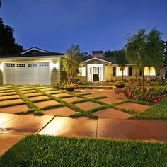 Classy and smart: Driveway and lawn, increased parking and water saving solution.