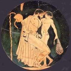 Brygos Painter (fl. c. 480s - 470s BCE), Ashmolean Museum, Oxford 1967.304 (500-450, c. 470 BCE; excavated at Vulci, Etruria, Italy). Red-figure kylix. Tondo: man courting a boy at the palaestra.