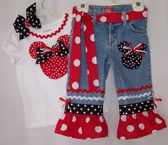 Custom Boutique Disney Minnie Mickey Mouse Jeans Shirt All Sizes Available | eBay