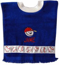 Pullover Fringed Terry Velour Baby Bibs: These come in a variety of colors and are blank for indicidualized design!