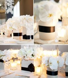Centros de Mesa en blanco y negro - centerpieces in Spanish. Oh well they're pretty anyway Vintage Party Decorations, Wedding Decorations, Black And White Centerpieces, White Candles, White Vases, Wedding Ideias, Black White Parties, Great Gatsby Theme, Decoration Table