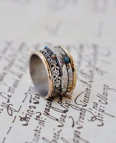 Statement ring Silver & Gold by Yardenajewelry on Etsy Women's hippie boho bohemian fashion accessories jewelry | Vintage Style Rings