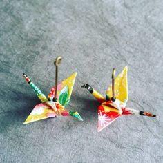 bijoux origami - Boucles d'oreilles grues