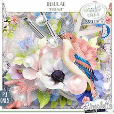 Insulae (PU) kit by Simplette digiscrap scrapbooking digital numérique insulae simplette oiseau bleu rose vert fleur imprimer végétal bulles stylo vintage fleuri shabby déco