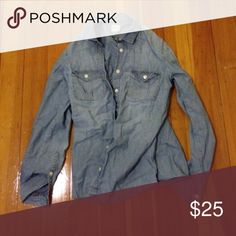 J. Crew Chambray Shirt J. Crew chambray button up shirt. Great condition. J. Crew Tops