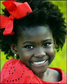 She has the such a beautiful smile. Everything about her is beautiful! Valentine's Day Hairstyles, Black Girls Hairstyles, Baby Names Scottish, African American Beauty, Bless The Child, Hair Growth Tips, Natural Styles, Grow Out, Natural Baby