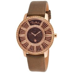 Thierry Mugler Women's Bronze Genuine Leather Brown dial ($90) ❤ liked on Polyvore featuring jewelry, watches, thierry mugler, bezel jewelry, leather watches, bronze jewelry and buckle watches