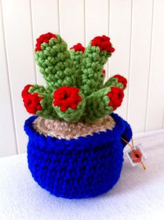 Crochet succulent evergreen cactus by Kilewia on Etsy, $15.00