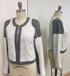 CAbi Heathered Gray & Cream Colorblocked Knit Jacket Size M #CAbi #Jacket