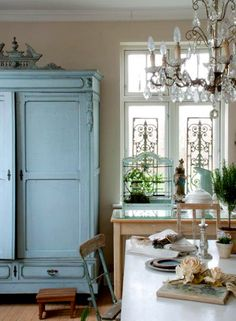 French inspired shabby chic--armoire great for craft room French Cottage, French Country House, Cottage Style, Country Life, Country Chic, Country Farmhouse, Country Kitchens, Cottage Chic, French Decor