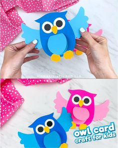 This owl craft is actually a fun and easy homemade card idea that's perfect to make for someone special! Make it in Mom or Dad's favorite color and give to each of them on Mother's Day or Father's Day Halloween Crafts For Toddlers, Animal Crafts For Kids, Craft Activities For Kids, Toddler Crafts, Preschool Crafts, Craft Kids, Kindergarten Crafts, Owl Crafts, Paper Crafts For Kids