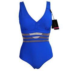 Andzhelika New One Piece Swimsuit Women Bodysuit Beachwear Padded Sexy Mesh Plus Size Swimwear Bathing Suit Swim Wear 3XL AK5321