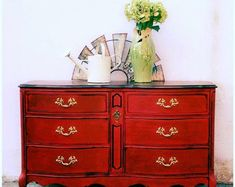 Items similar to Texas Gypsy Style French Provincial Dresser Boho Gypsy Buffet TV Console Changing Table, Red on Etsy Diy Furniture Projects, Paint Furniture, Furniture Makeover, Home Furniture, Furniture Design, Space Furniture, Pallet Projects, Craft Projects, Refurbished Furniture