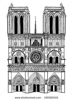 Notre Dame de Paris Cathedral, France. Hand drawing sketch vector illustration of french travel landmark.