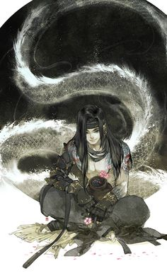 Chinese, illustration, black hair, dragon. Cái Bang